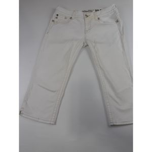 MISS ME WHITE CAPRI JEANS STAINED FLAP POCKET